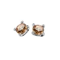 Zinzi Silver Earring Studs With Champagne Zirconia