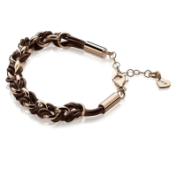 Zinzi Rose Gold Jasseron Link Bracelet with Brown Cord