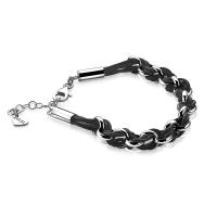 Zinzi Silver Jasseron Link Bracelet with Black Cord