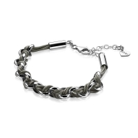 Zinzi Silver Jasseron Link Bracelet with Grey Cord