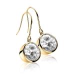 Zinzi Gold Plated Dangle Earrings With White Zirconias