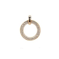 Zinzi Rose Gold Plated Circle Pendant With White Zirconias