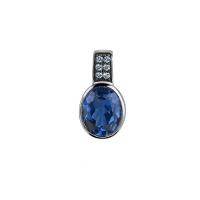 Zinzi Silver Oval Pendant with Blue Zirconia
