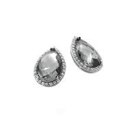 Zinzi Silver Earring Studs With Teardrop Grey Zirconia