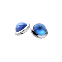 Zinzi Silver Earrings With Cabochon Cut Blue Topaz