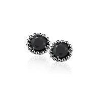 Zinzi Silver Earrings With Black Zirconia