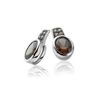Zinzi Silver Earrings with Oval Brown Zirconias