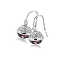 Zinzi Silver Dangle Earrings with Purple Sphere Drop