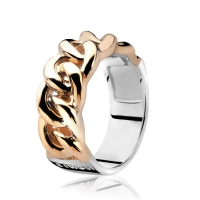 Zinzi Gourmet Link Rose Gold Plated Ring