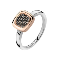 Zinzi Rose Gold Square Mount Ring with Black CZ