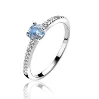 Zinzi Silver Ring with Blue Zirconia