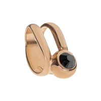 Senta La Vita  Jet Hematite Swarovski Double Ring Charm