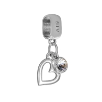 Senta La Vita Clear Swarovski Open Heart Dangle Charm