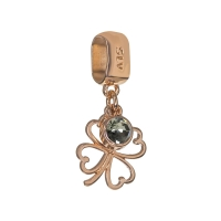 Senta La Vita Black Diamond Swarovski Open Clover Dangle Charm