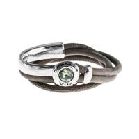 Senta La Vita Taupe Double Wrap Half Bracelet with Swarovski Stone