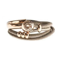 Senta La Vita Metallic Earth Double Wrap Half Bracelet with Swarovski Stone
