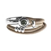 Senta La Vita Metallic Earth Double Wrap Half Bracelet with Swarovski Stone