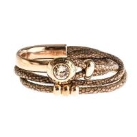 Senta La Vita Bronze Double Wrap Half Bracelet with Swarovski Stone