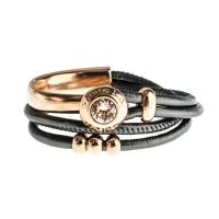Senta La Vita Anthracite Metallic Double Wrap Half Bracelet With Swarovski Stone