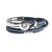 Senta La Vita Perlato Blue Double Wrap Half Bracelet with Swarovski Stone