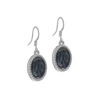 Senta La Vita Silver and Dark Grey Stone Earrings