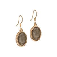 Senta La Vita  Rose and Light Taupe Stone Earrings