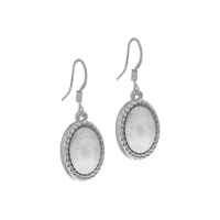 Senta La Vita Silver and White Stone Earrings