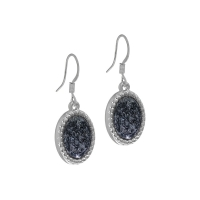 Senta La Vita Silver and Black Felt Stone Earrings