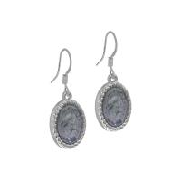 Senta La Vita Silver and Jet Grey Stone Earrings