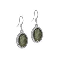 Senta La Vita Silver and Agave Green Stone Earrings